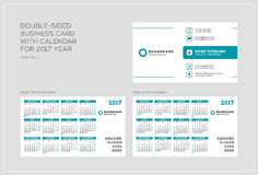 Double-sided πρότυπο επαγγελματικών καρτών με το ημερολόγιο για το έτος του 2017 Η εβδομάδα αρχίζει τη Δευτέρα Η εβδομάδα αρχίζει Στοκ φωτογραφίες με δικαίωμα ελεύθερης χρήσης