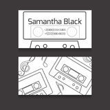 Double-sided business card with the contours of the audiotapes Royalty Free Stock Photos