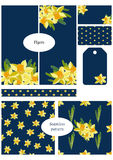 Double sided business card, flyer, tags, wrapping border and two seamless patterns. Floral templates set, collection. Daffodil flo Royalty Free Stock Photography