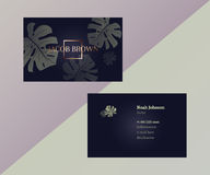 Double-sided business card in graphite color Stock Photos