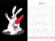 Double-sided calendar 2011. White bunny character, vector illustration Royalty Free Stock Photo