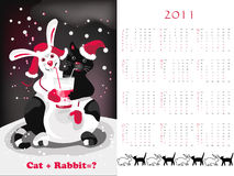 Double-sided calendar  2011. Vector illustration Stock Images