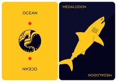 Free Double-sided Card Depicting Of Megalodon. Stock Photos - 161418873