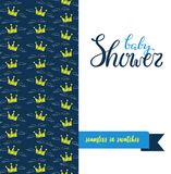 Double sided cute greeting card for newborn baby boy shower party. With fabric and pennant seamless pattern in swatches on back side and lettering Baby shower Stock Image