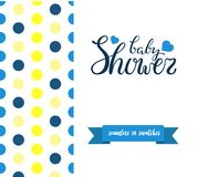 Double sided cute greeting card for newborn baby boy shower party. With fabric and pennant seamless pattern in swatches on back side and lettering baby shower Stock Photos
