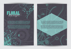 Double sided floral design flyer template Royalty Free Stock Images