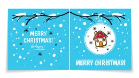 Double sided holiday card with Christmas balls on snowy branch. Illustration with gingerbread man. Winter background Stock Photo