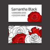 Double sides cards with painted white and red roses Royalty Free Stock Photography