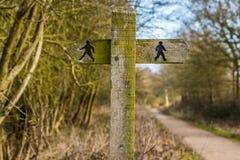 Double signe public de sentier piéton Photos stock