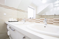 Double sink in the bright bathroom Royalty Free Stock Photo