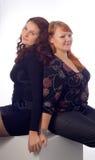 Double sister portrait stock photos