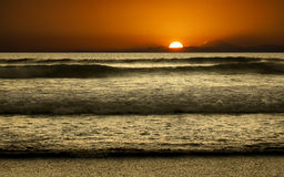 Double six Beach Bali and sunset time Stock Image