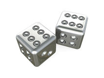 Double six dice. Illustration of two silvery dice with double six on top, isolated on white background Stock Photos