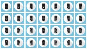Double-six dominoes flat icon set Stock Photo