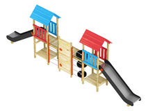 Double slide for childrens playground. Roofed wooden structure with a double slide for childrens playground isolated on a white background Stock Photo