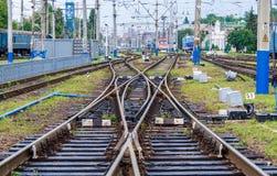 Double slip railway switch Royalty Free Stock Photography