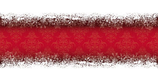 Double Snow Banner Wood Ornaments. Double snow banner on the red background with ornaments Royalty Free Stock Image