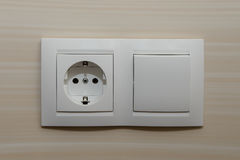 Double socket with a switch Stock Photos