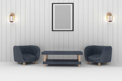 Double sofa with lamp and frame photo in white room interior design in 3D rendering Stock Photo