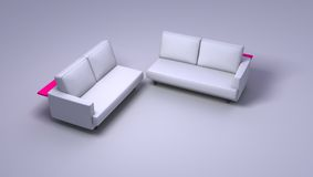 Double sofas. Sofas on simple background - double seated. Clipping path included in JPG format royalty free stock photos