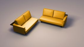 Double sofas. Sofas on simple background - double seated. Clipping path included in JPG format royalty free stock image