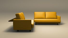 Double sofas. Sofas on simple background - double seated. Clipping path included in JPG format stock image