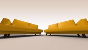 Double sofas. Sofas on simple background - double seated. Clipping path included in JPG format royalty free stock photography