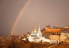 Double spring rainbow Nizhny Novgorod Stock Image