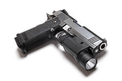 1911 Double Stack. Custom Build 1911 Double Stack USPSA Pistol With Flashlight Royalty Free Stock Photography