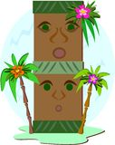 A Double Stake of Tikis Royalty Free Stock Photography