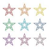 Double stars icons set Stock Photography
