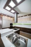 A double steel kitchen sink in a modern style. A double bowl stainless steel kitchen sink in a modern style stock photo