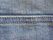 Double stitch on jeans. Double stitch on blue faded jeans trousers background royalty free stock photos