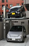 Double storey parking. In Japan stock photography