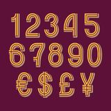 Double stripe style numbers with currency signs of American dollar, euro, British pound, Japanese yen. Vector symbols.  royalty free illustration