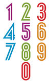Double stripes funky numbers set. Royalty Free Stock Image