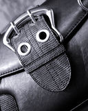Double studded buckle on bag. Ladies fashion - double studded buckle on ladies shoulder bag, made from leather and skin Royalty Free Stock Photography