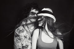Double studio portrait of young lovers, men and women Stock Images