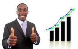Double Success!!. This is an image of a businessman excited due to a double rise in profits, symbolised by the graph behind him Royalty Free Stock Photography