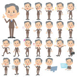 Double suit beard old man. Set of various poses of Double suit beard old man Royalty Free Stock Images