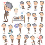 Double suit beard old man About the sickness. Set of various poses of Double suit beard old man About the sickness Royalty Free Stock Image