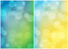 Double summer colours abstract background. Double bright summer colours abstract bokeh background stock illustration