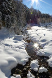 Double Sun. Creek on a sunny winter day with sun reflected in its still pure waters Stock Photos