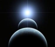 Double système de planète avec l'étoile en hausse Photographie stock libre de droits