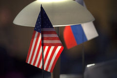 Double table flag, partnership united states of america and russia Stock Photo