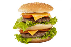 Double tasty hamburger on white Stock Image
