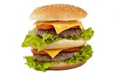 Double tasty hamburger on white Stock Image