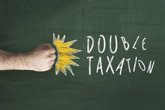 Double taxation concept. Financial Tax concept. Fist punching the text Double taxation Royalty Free Stock Images