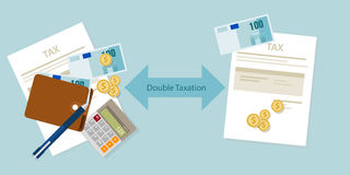 Double Taxation concept payment taxed twice. Vector Royalty Free Stock Image