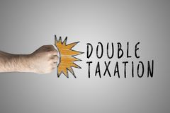 Double taxation relief. Double taxation concept. Punching Fist on whiteboard Royalty Free Stock Images
